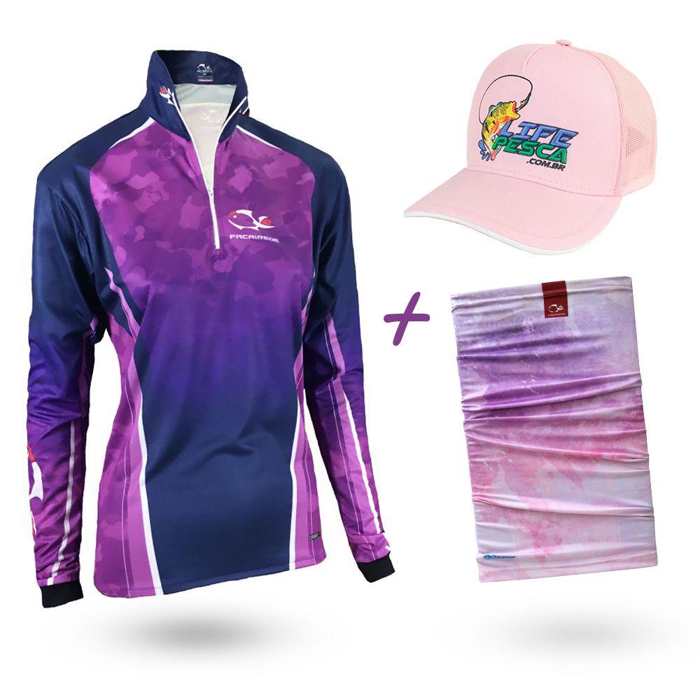 Camiseta de Pesca Faca na Rede Combat S Girl Purple 2020 + Bandana + Boné
