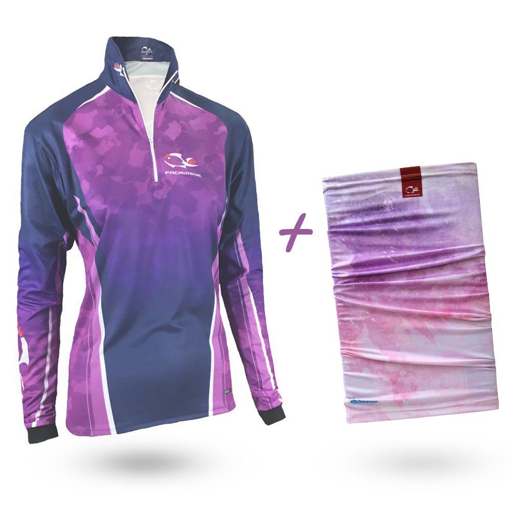 Camiseta de Pesca Faca na Rede Combat S Girl Purple 2020 + Bandana Tb19 Sakura