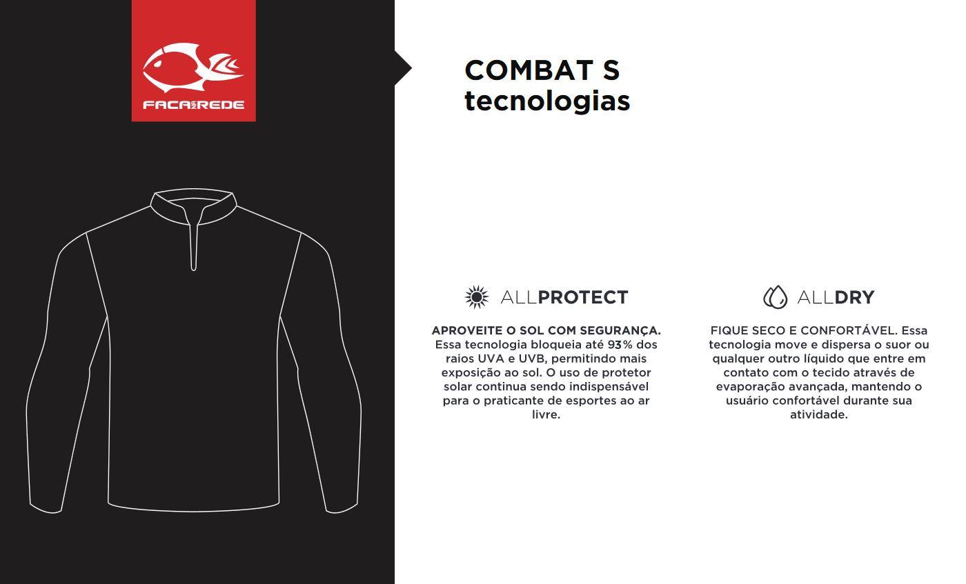 Camiseta de Pesca Proteção Solar Faca na Rede Combat S - Robalo  - Life Pesca - Sua loja de Pesca, Camping e Lazer