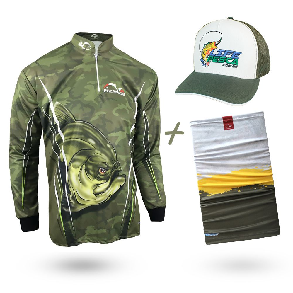 Camiseta de Pesca Faca na Rede Combat S Tambaqui 2020 + Bandana + Boné