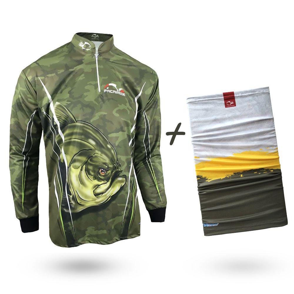 Camiseta de Pesca Faca na Rede Combat S Tambaqui 2020 + Bandana Tb19 Tambaqui