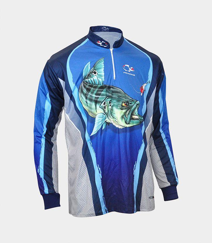 Camiseta de Pesca Faca na Rede Combat S Tucunaré Azul