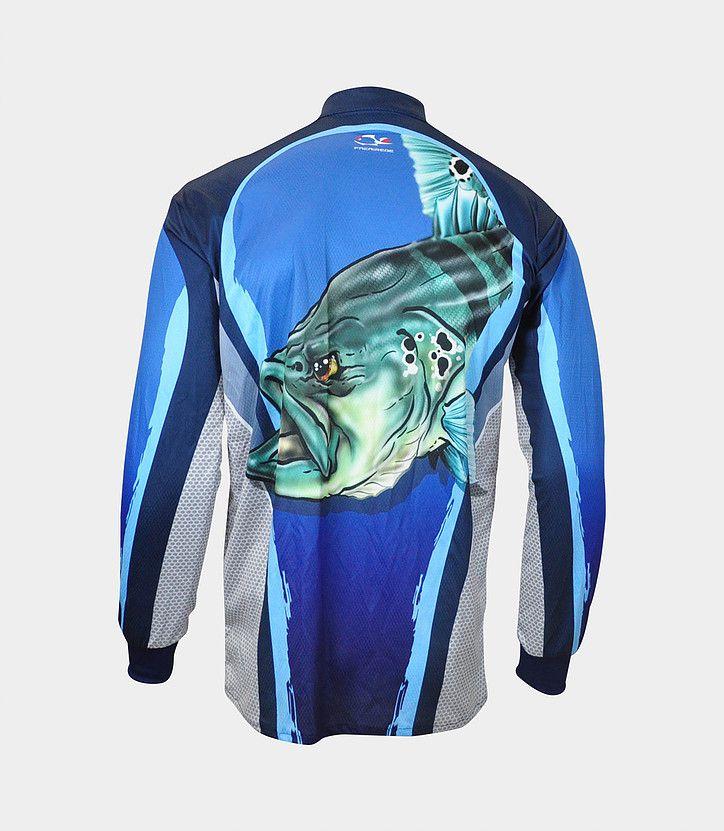 Camiseta de Pesca Proteção Solar Faca na Rede Combat S - Tucunaré Azul  - Life Pesca - Sua loja de Pesca, Camping e Lazer