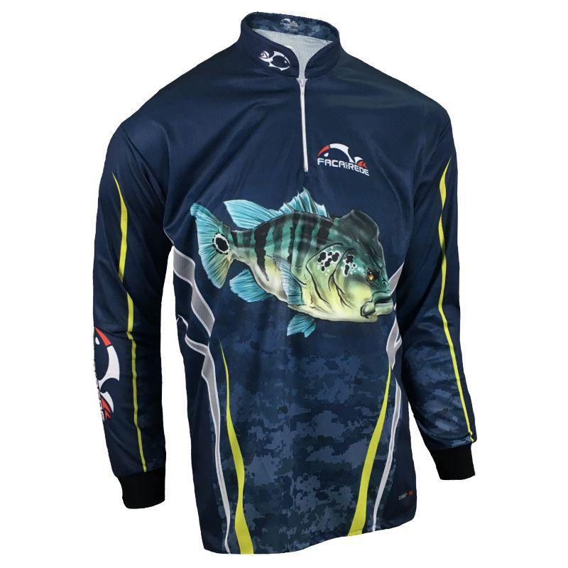 Camiseta de Pesca Proteção Solar Faca na Rede Combat S - Tucunaré Azul 2020