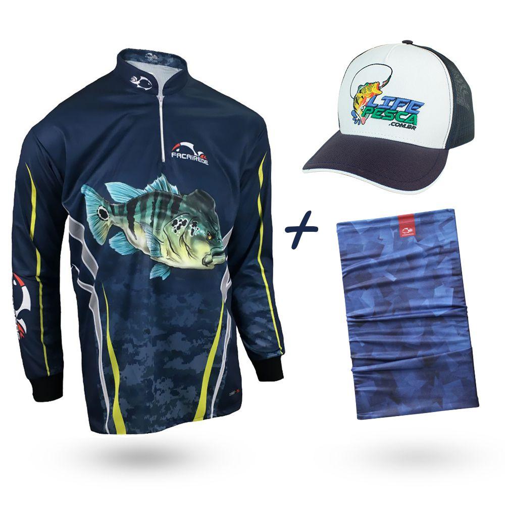 Camiseta de Pesca Faca na Rede Combat S Tucunaré Azul 2020 + Bandana + Boné