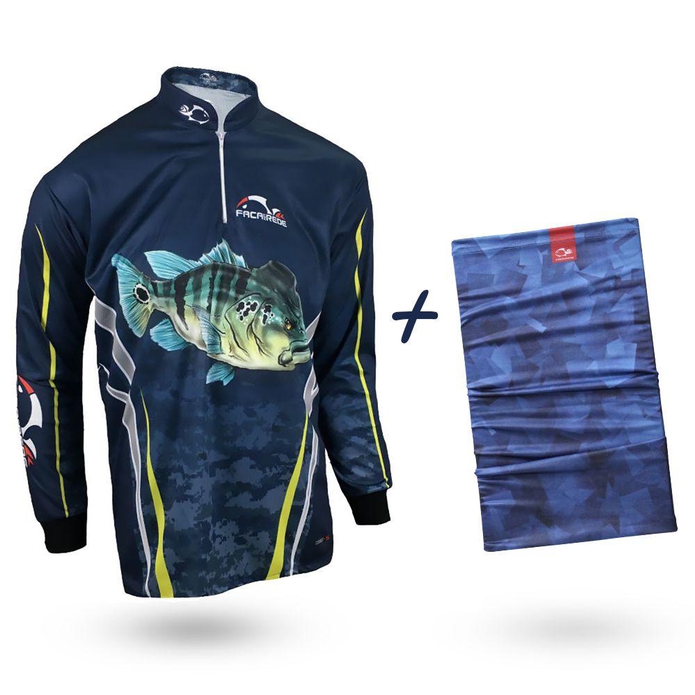 Camiseta de Pesca Faca na Rede Combat S Tucunaré Azul 2020 + Bandana Tb19 Ocean