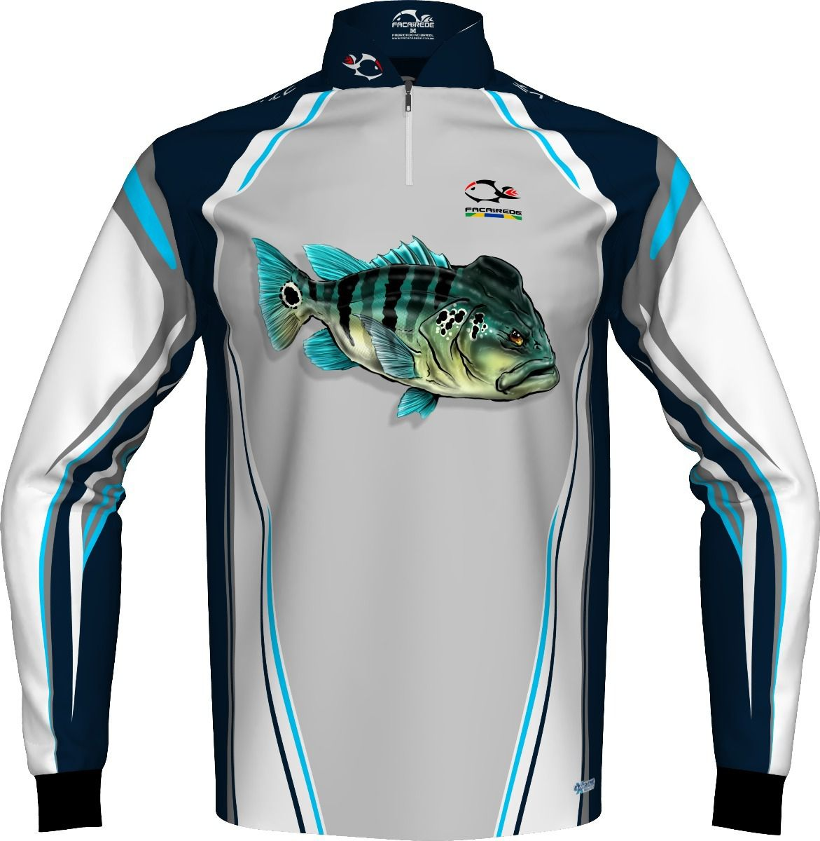 Camiseta de Pesca Faca na Rede EVO Tucunaré Azul  - Life Pesca - Sua loja de Pesca, Camping e Lazer