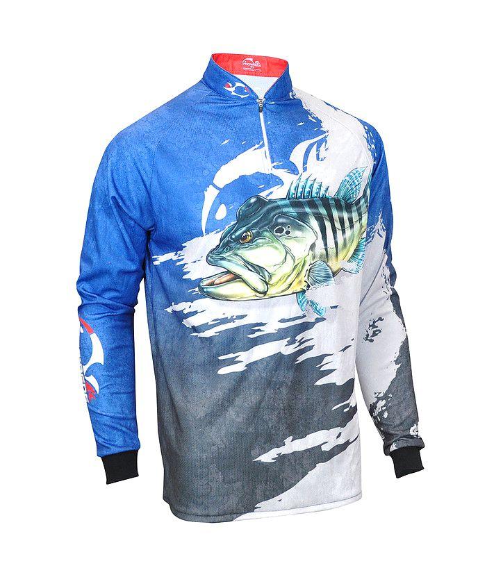 Camiseta de Pesca Proteção Solar Faca na Rede EVO - Tucunaré Azul