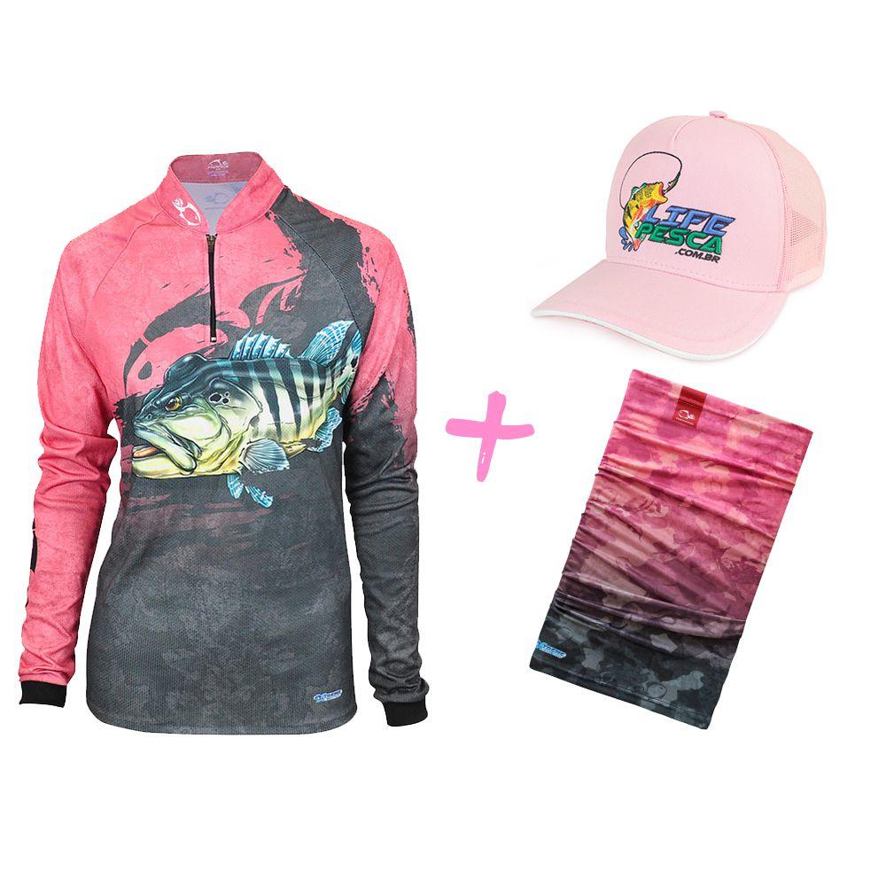 Camiseta de Pesca Feminina Faca na Rede EVO Girl Tucunar¿ Azul   Bandana   Bon¿