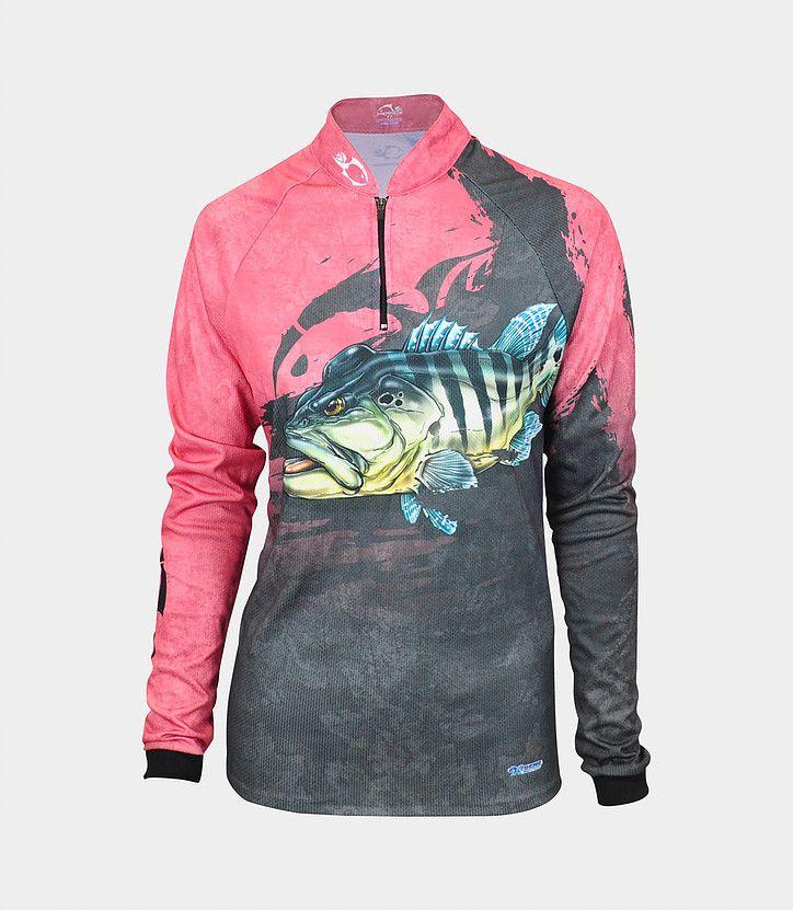 Camiseta de Pesca Proteção Solar Feminina Faca na Rede EVO - Girl Tucunaré Azul  - Life Pesca - Sua loja de Pesca, Camping e Lazer