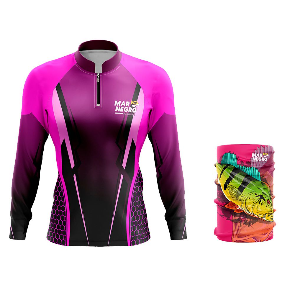 Camiseta de Pesca Feminina Mar Negro Proteção Solar 50+ UV Clean Rosa + Buff Tucunaré Rosa