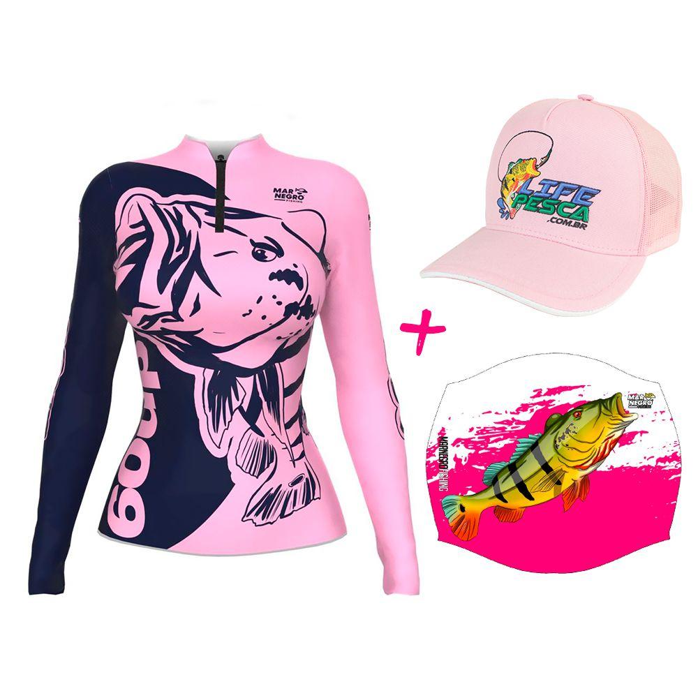 Camiseta de Pesca Feminina Proteção Solar 50+ UV Mar Negro 60 UP + Boné + Buff