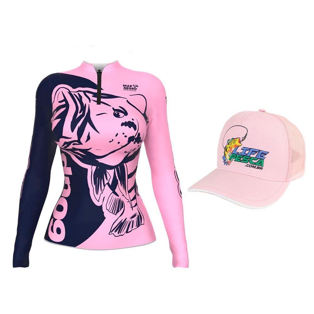Camiseta de Pesca Feminina Proteção Solar 50+ UV Mar Negro 60 UP + Boné Life Pesca Rosa