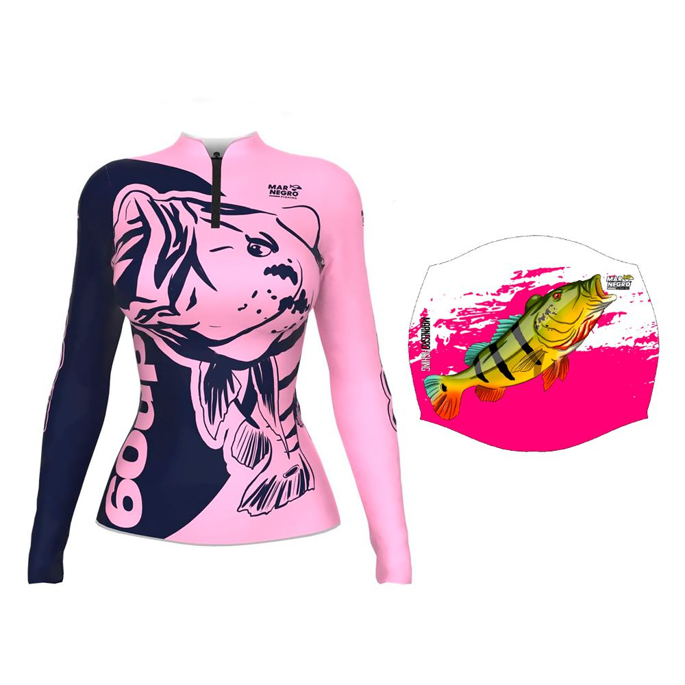 Camiseta de Pesca Feminina Proteção Solar 50+ UV Mar Negro 60 UP + Buff Tucunaré Rosa