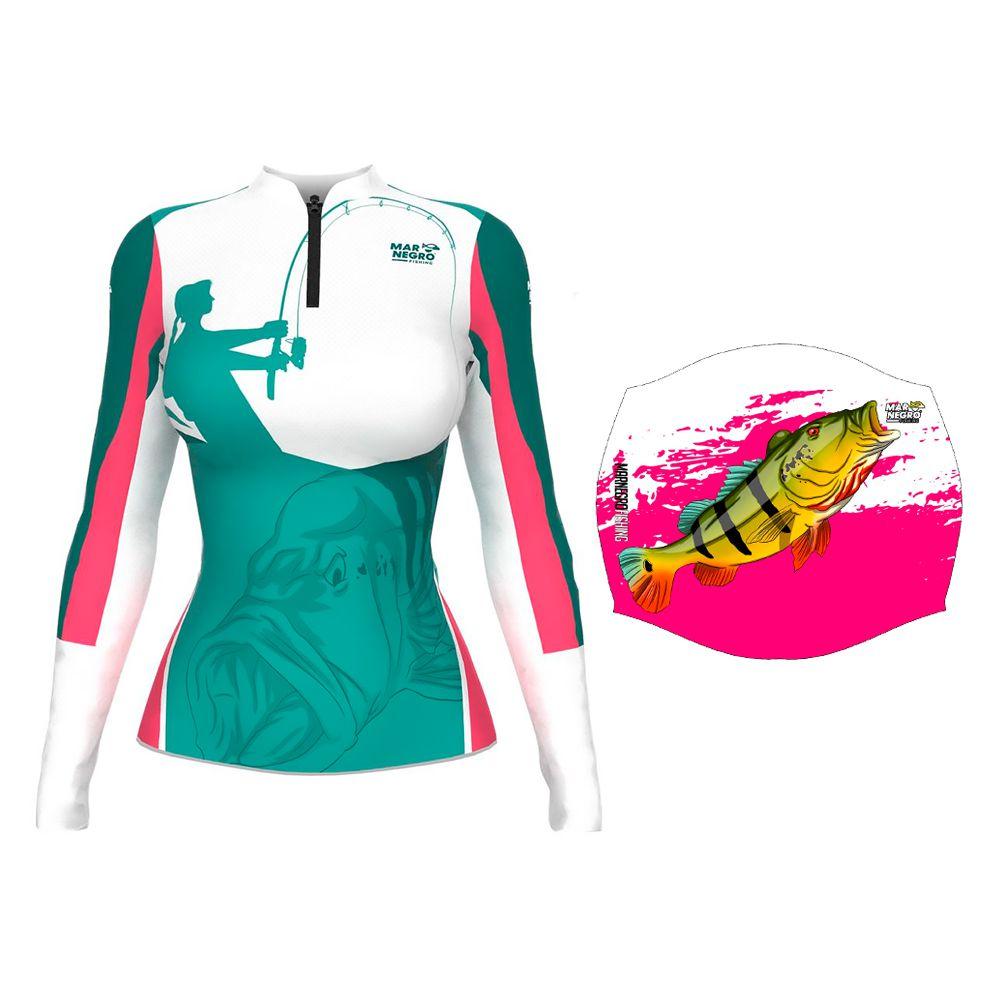 Camiseta de Pesca Feminina Proteção Solar 50+ UV Mar Negro Clean Pescando + Buff Tucunaré Rosa