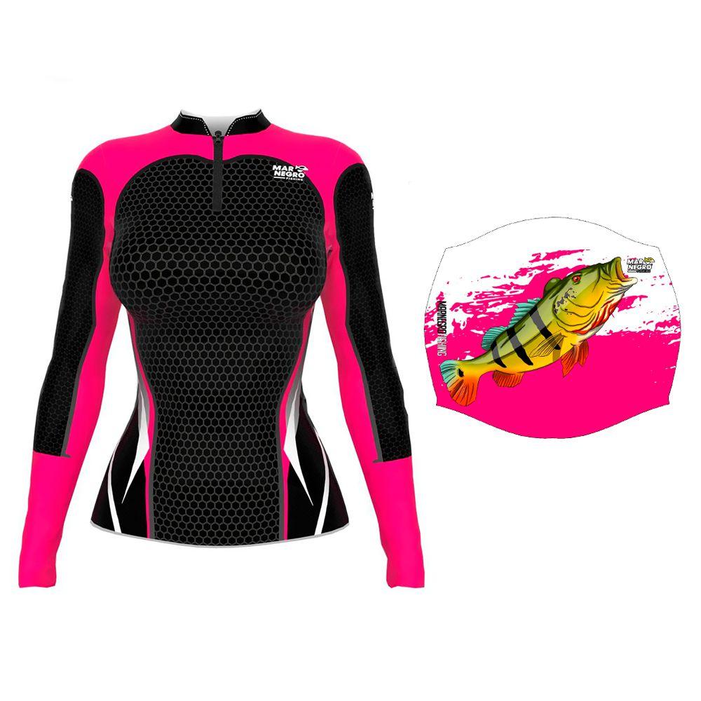 Camiseta de Pesca Feminina Proteção Solar 50+ UV Mar Negro Clean Preta + Buff Tucunaré Rosa