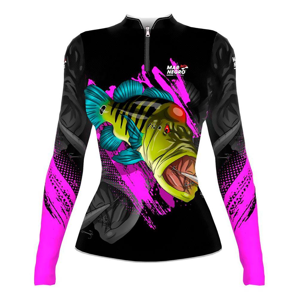 Camiseta de Pesca Feminina Proteção Solar 50+ UV Mar Negro - Tucunaré Azul 1 2020