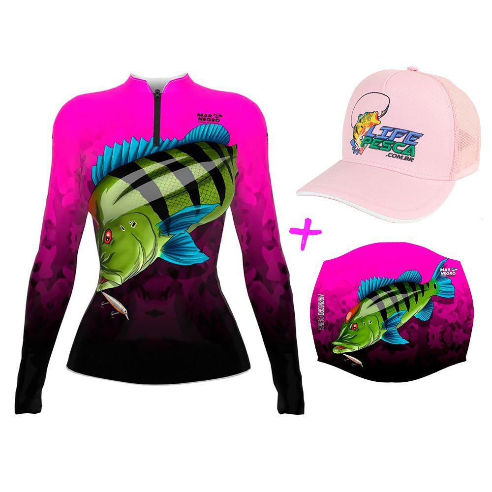 Camiseta de Pesca Feminina Proteção Solar 50+ UV Mar Negro Tucunaré Azul + Boné + Buff