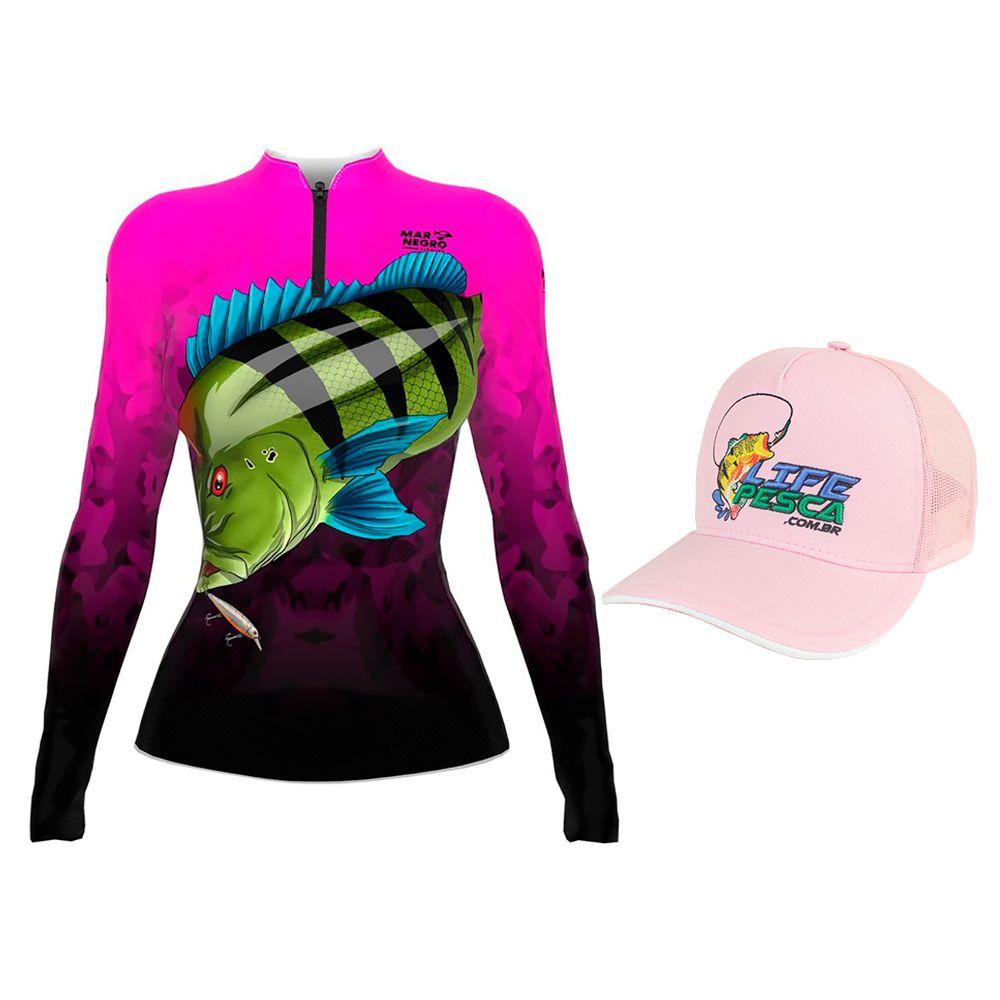 Camiseta de Pesca Feminina Proteção Solar 50+ UV Mar Negro Tucunaré Azul + Boné Life Pesca Rosa