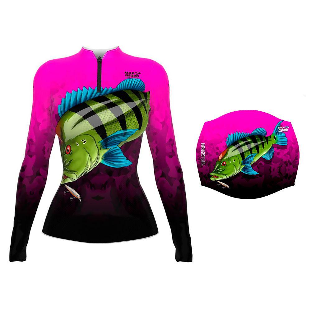 Camiseta de Pesca Feminina Proteção Solar 50+ UV Mar Negro Tucunaré Azul + Buff Tucunaré Azul
