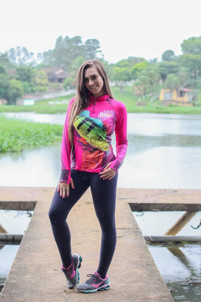 Camiseta de Pesca Feminina Proteção Solar 50+ UV Mar Negro - Tucunaré Rosa