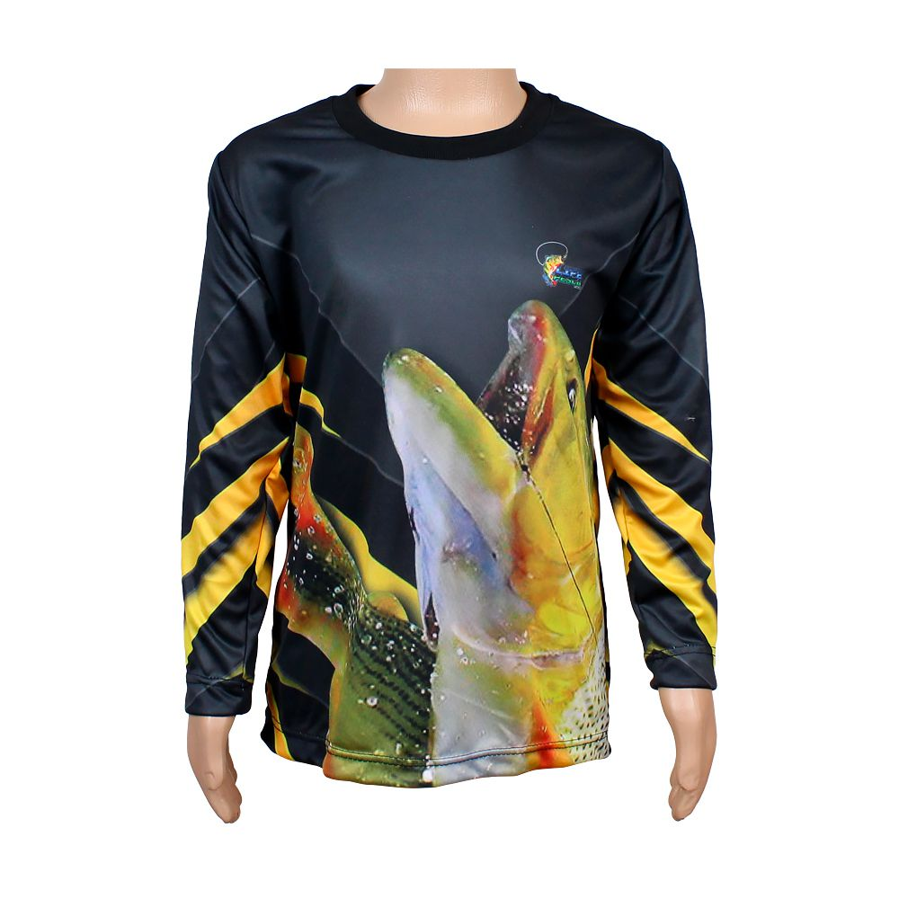 Camiseta de Pesca Infantil Proteção Solar 50+ UV Life Pesca - Dourado