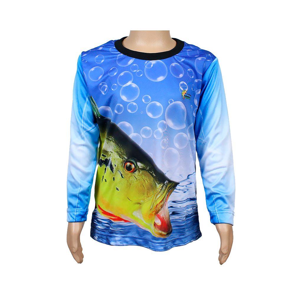 Camiseta de Pesca Infantil Proteção Solar 50+ UV Life Pesca - Tucunaré Açu
