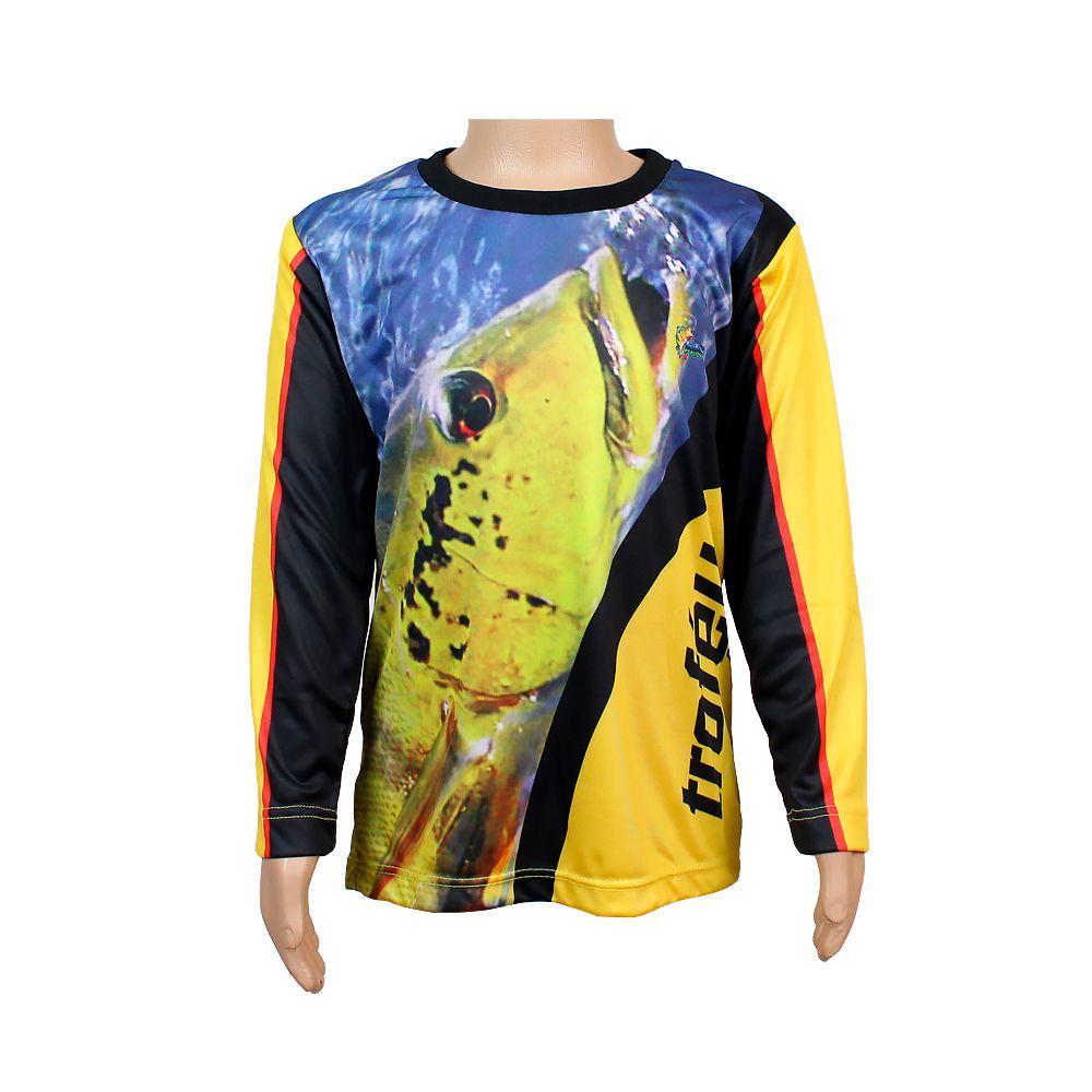 Camiseta de Pesca Infantil Proteção Solar 50+ UV Life Pesca - Tucunaré Amarelo
