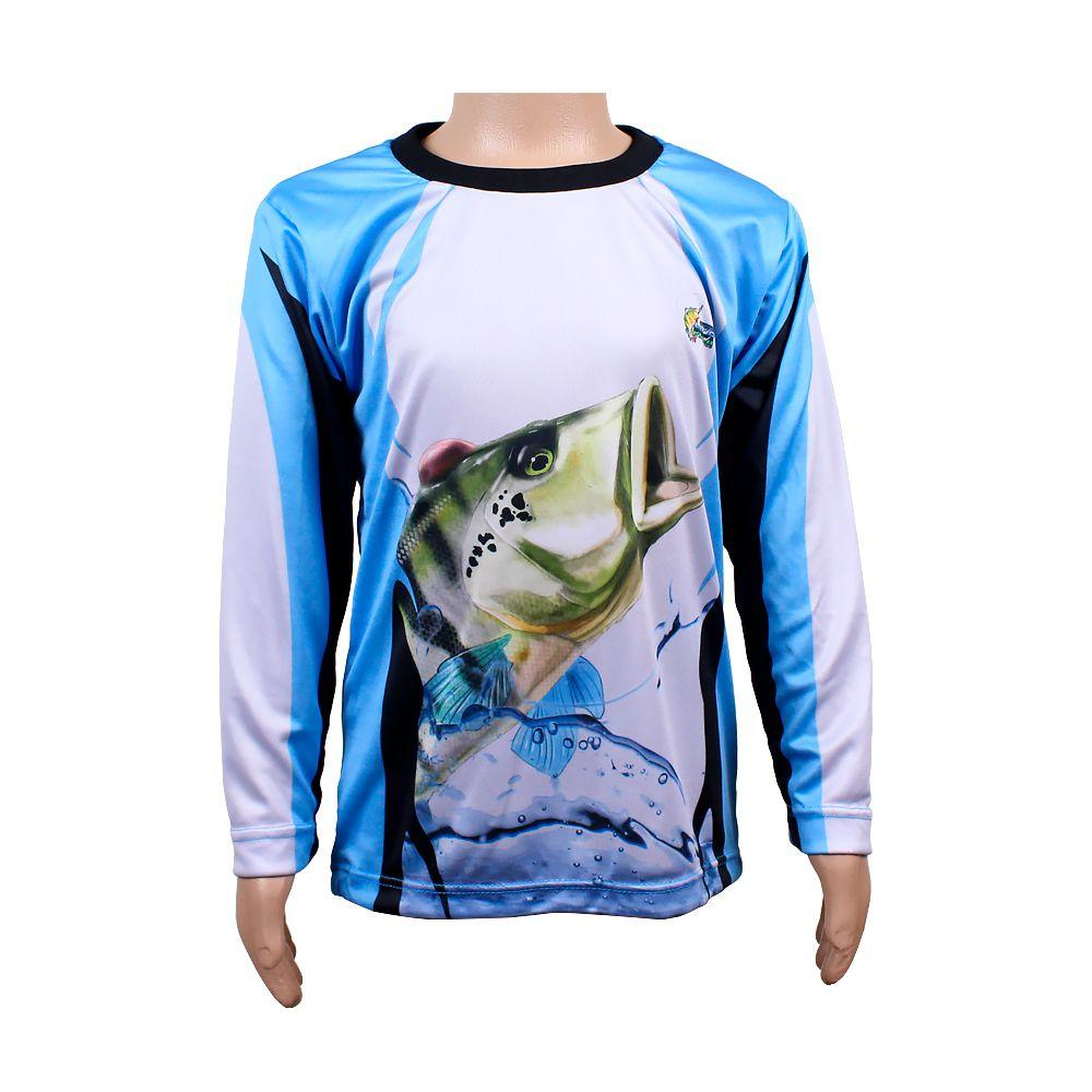 Camiseta de Pesca Infantil Proteção Solar 50+ UV Life Pesca - Tucunaré Azul