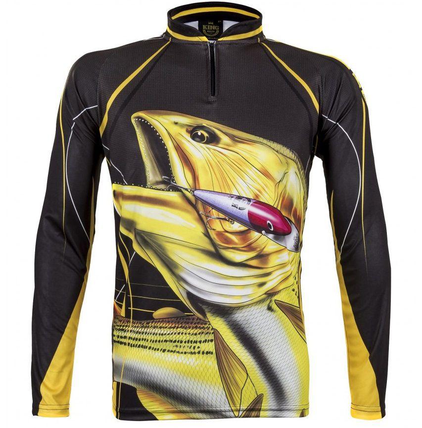 Camiseta De Pesca King Proteção Solar Uv Atack 02 - Dourado