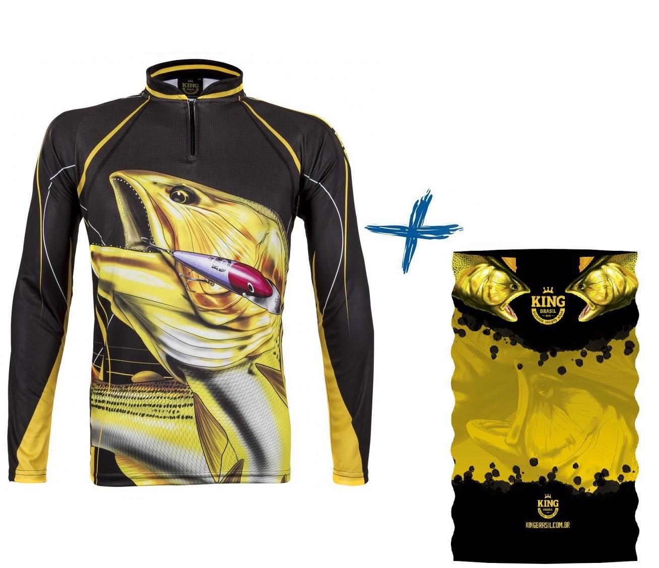 Camiseta De Pesca King Proteção Solar Uv Atack 02 Dourado + Bandana
