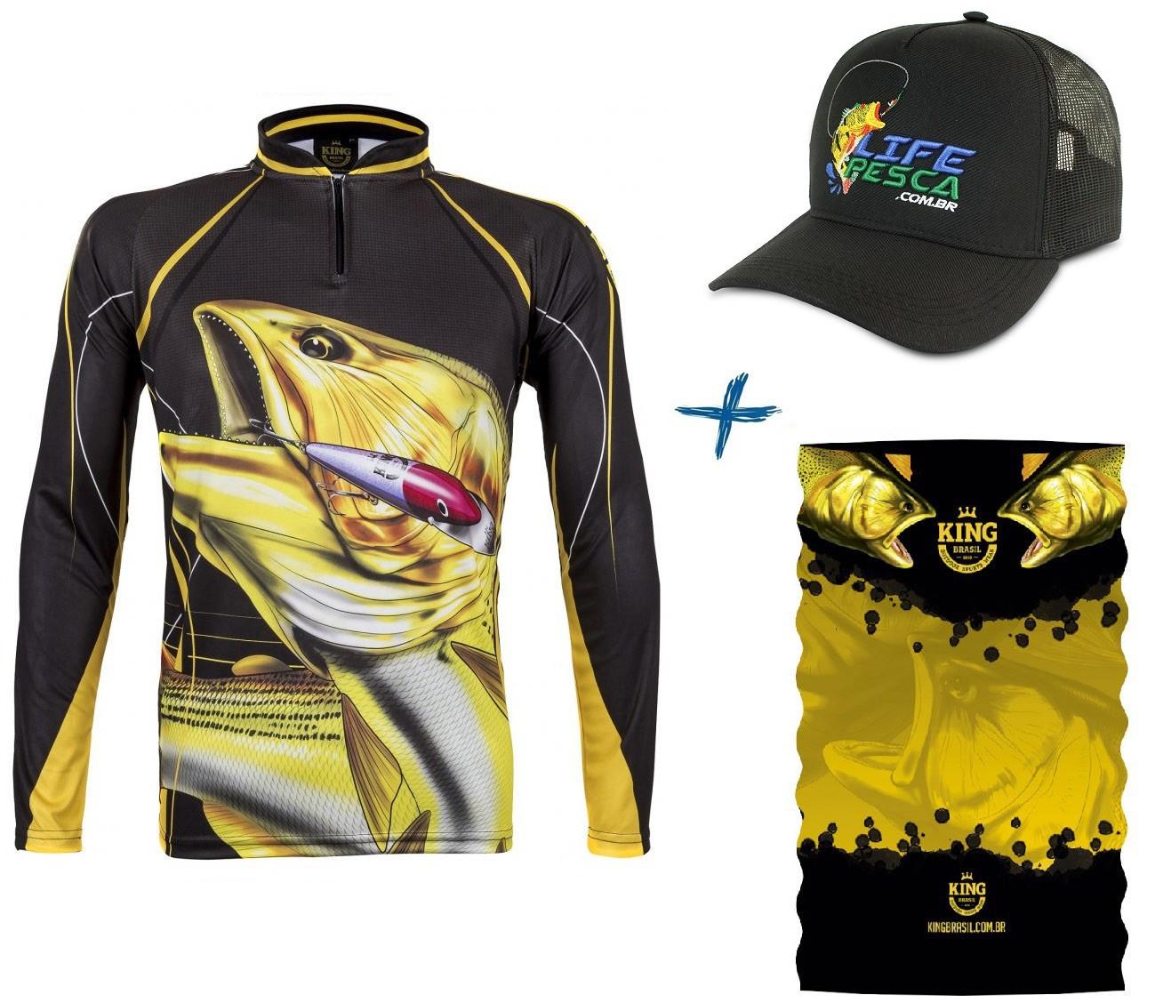 Camiseta De Pesca King Proteção Solar Uv Atack 02 Dourado + Bandana + Boné