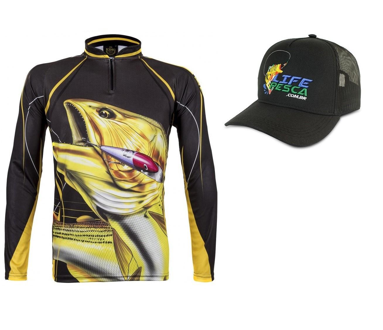 Camiseta De Pesca King Proteção Solar Uv Atack 02 Dourado + Boné
