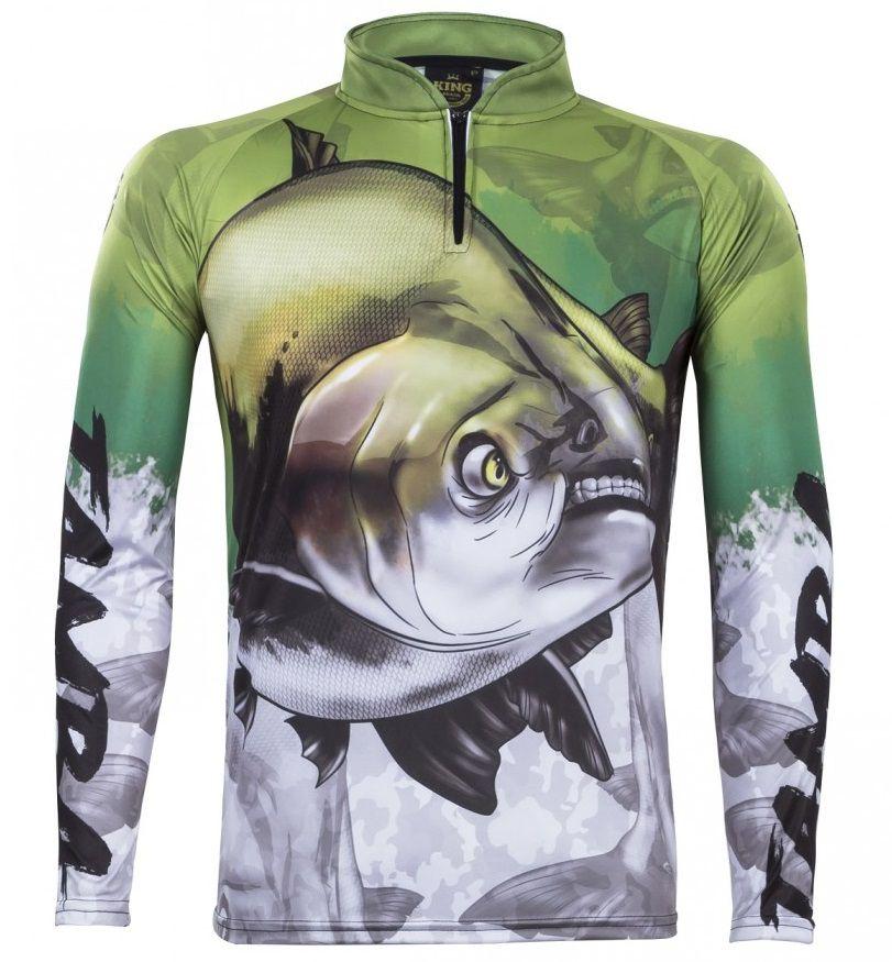 Camiseta De Pesca King Proteção Solar Uv Atack 05 - Tamba