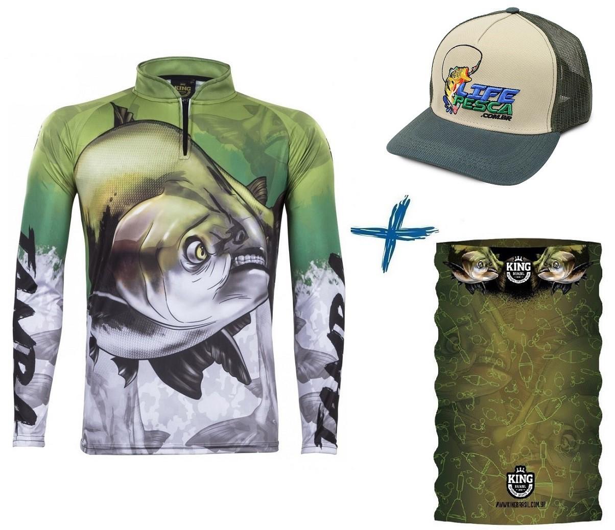 Camiseta De Pesca King Proteção Solar Uv Atack 05 Tamba + Bandana + Boné