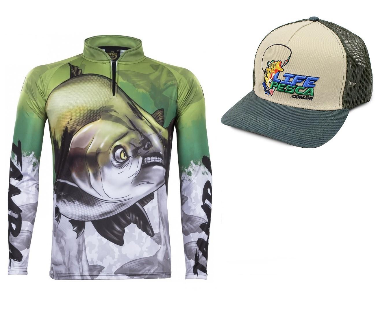 Camiseta De Pesca King Proteção Solar Uv Atack 05 Tamba + Boné