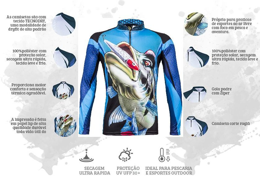 Camiseta De Pesca King Proteção Solar Uv Atack 07 - Tucunaré  - Life Pesca - Sua loja de Pesca, Camping e Lazer