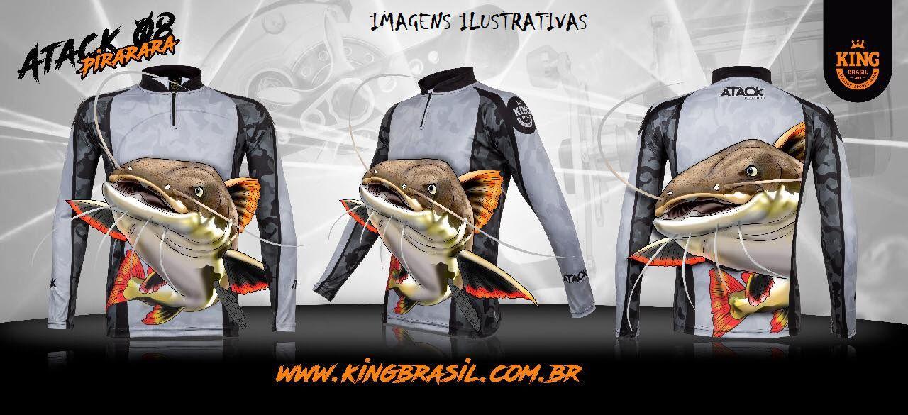 Camiseta De Pesca King Proteção Solar Uv Atack 08 - Pirarara  - Life Pesca - Sua loja de Pesca, Camping e Lazer