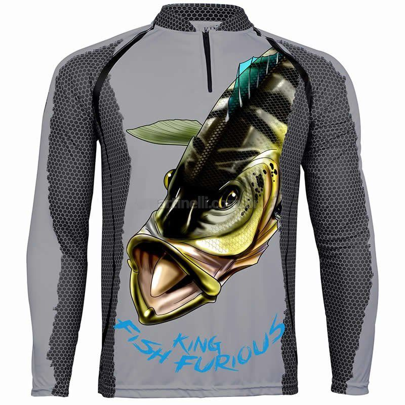 Camiseta De Pesca King Proteção Solar Uv KFF07 - Tucunaré