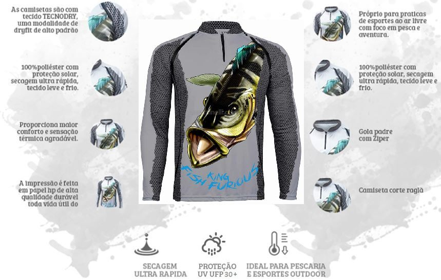 Camiseta De Pesca King Proteção Solar Uv KFF07 - Tucunaré  - Life Pesca - Sua loja de Pesca, Camping e Lazer
