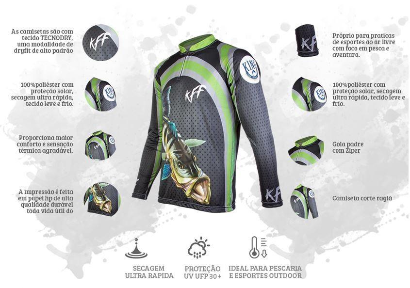 Camiseta De Pesca King Proteção Solar Uv KFF10 - Tucunaré  - Life Pesca - Sua loja de Pesca, Camping e Lazer