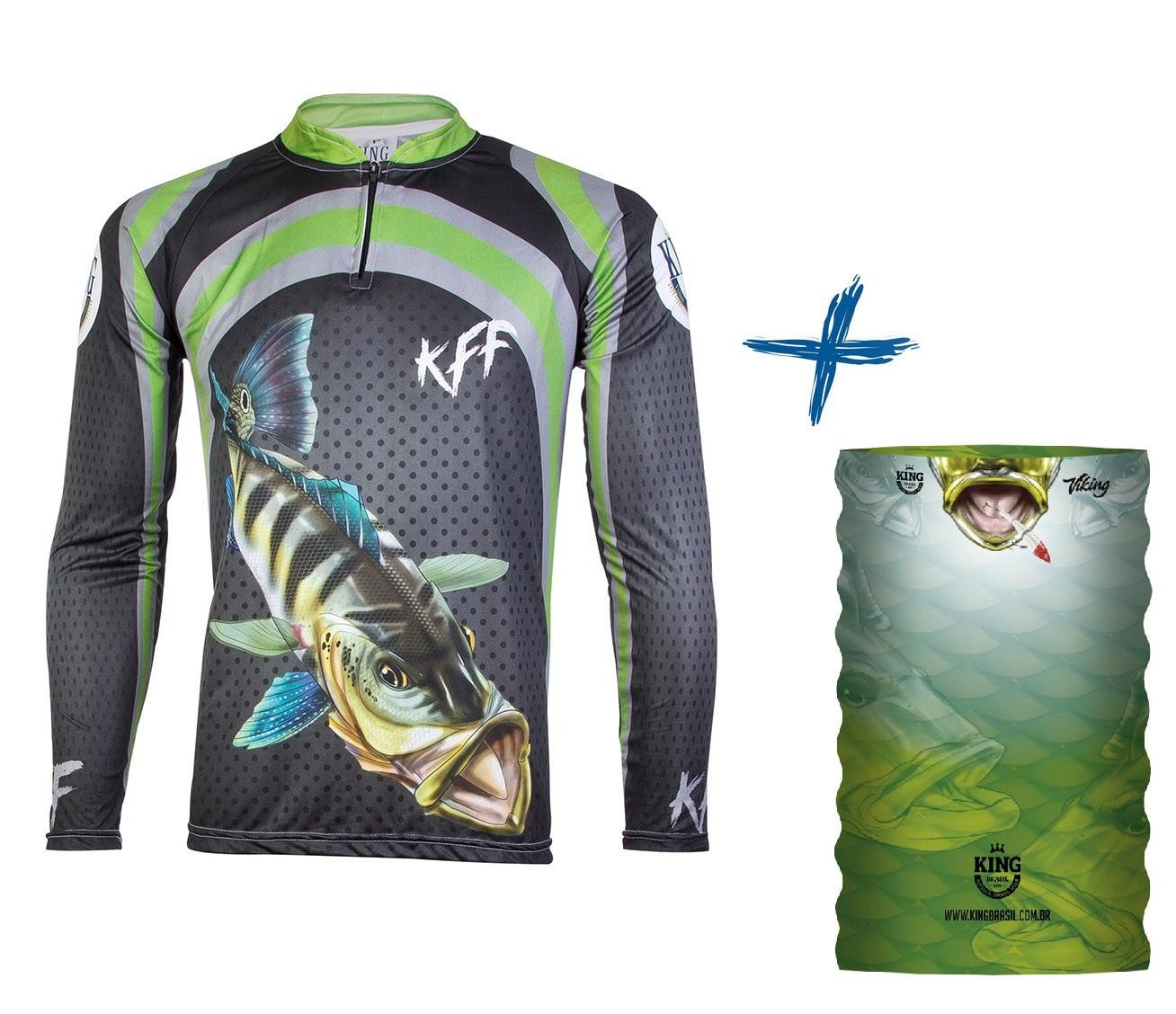 Camiseta De Pesca King Proteção Solar Uv KFF10 Tucunaré + Bandana