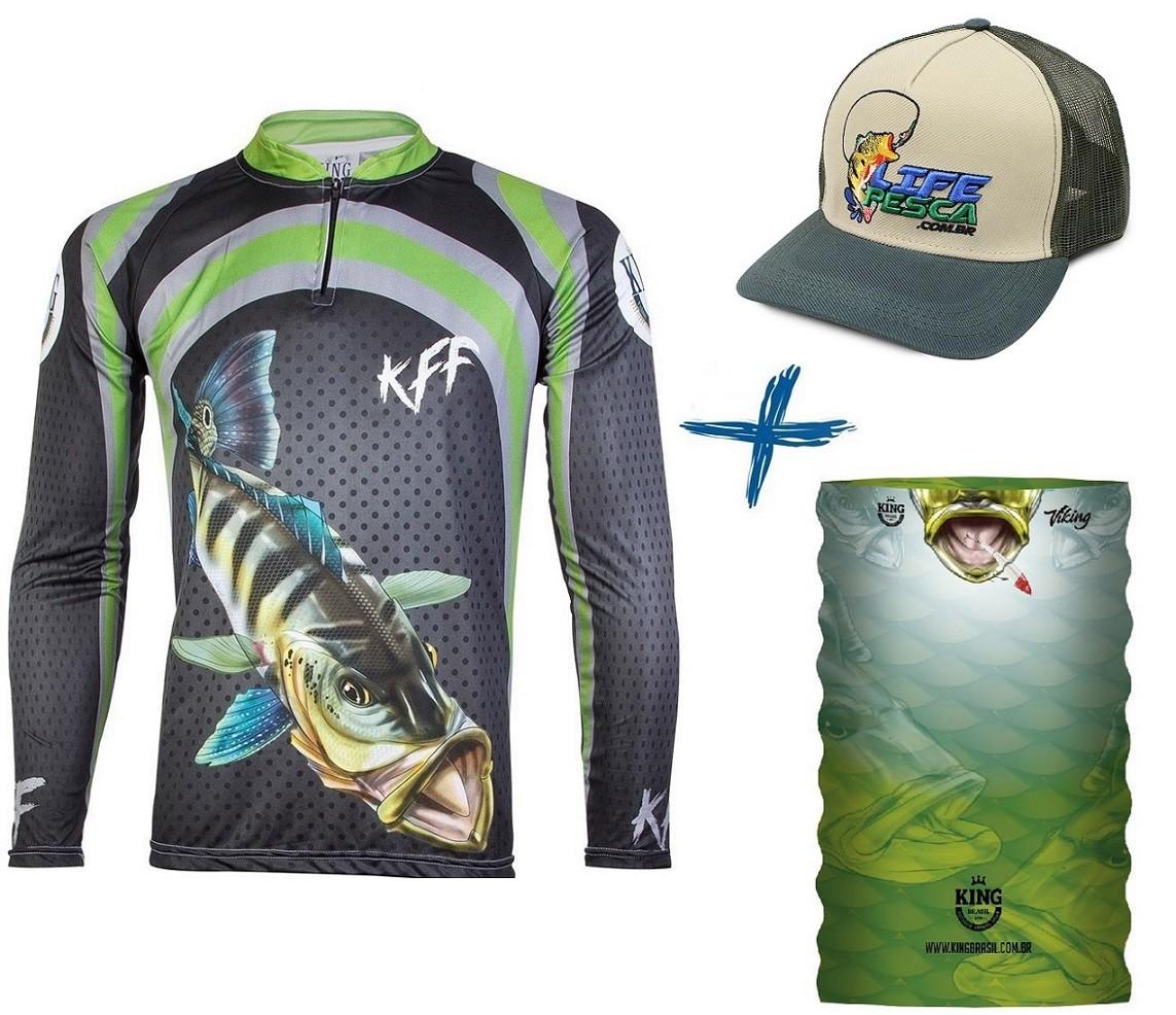 Camiseta De Pesca King Proteção Solar Uv KFF10 Tucunaré + Bandana + Boné