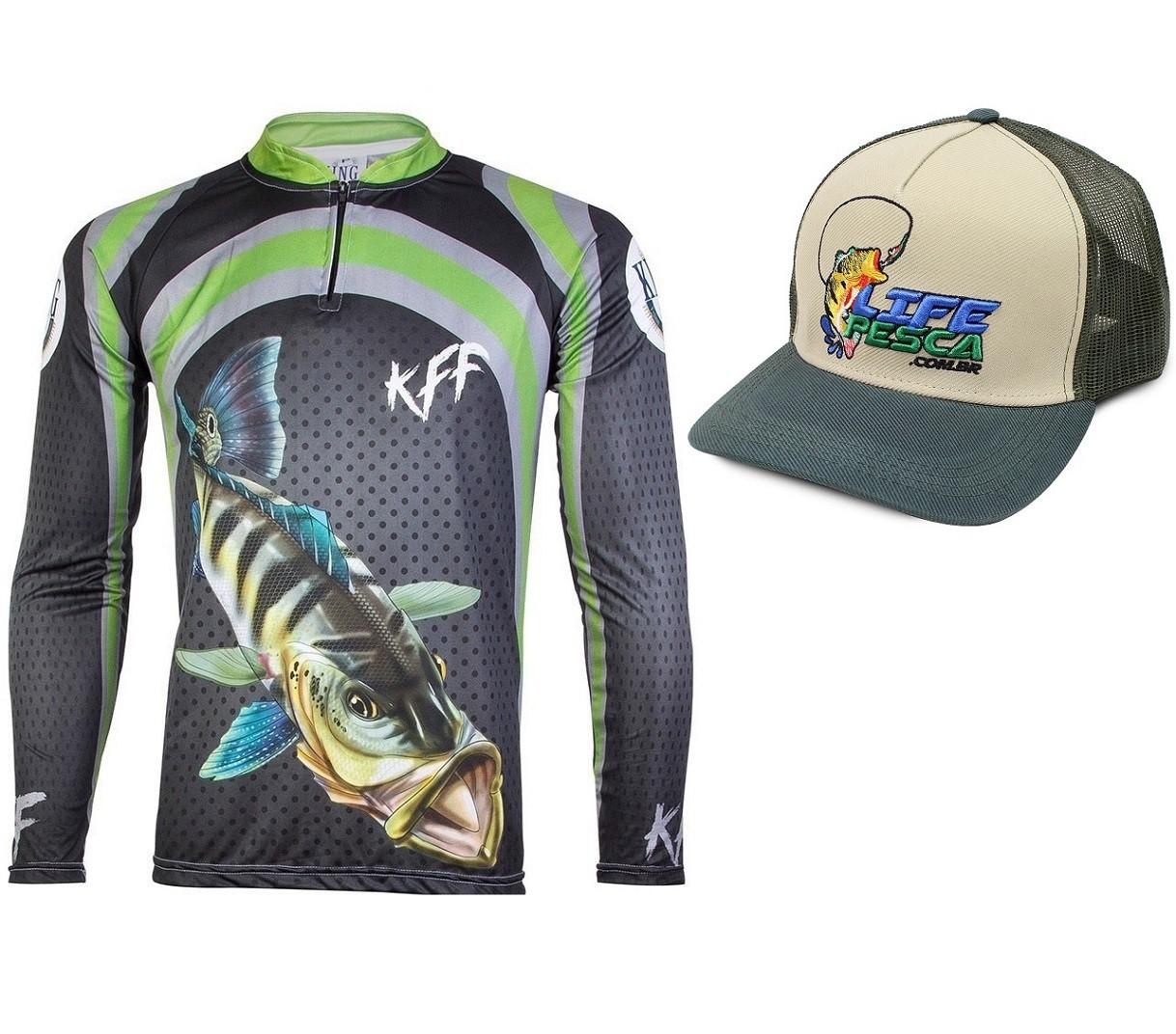 Camiseta De Pesca King Proteção Solar Uv KFF10 Tucunaré + Boné
