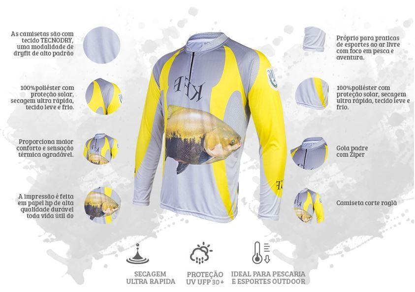 Camiseta De Pesca King Proteção Solar Uv KFF14 - Tamba  - Life Pesca - Sua loja de Pesca, Camping e Lazer