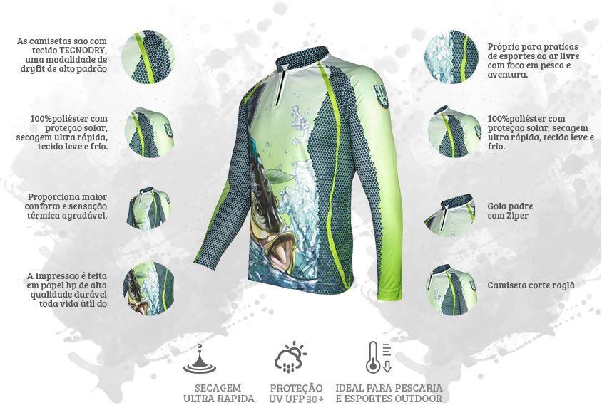 Camiseta De Pesca King Proteção Solar Uv KFF22 - Tucunaré  - Life Pesca - Sua loja de Pesca, Camping e Lazer