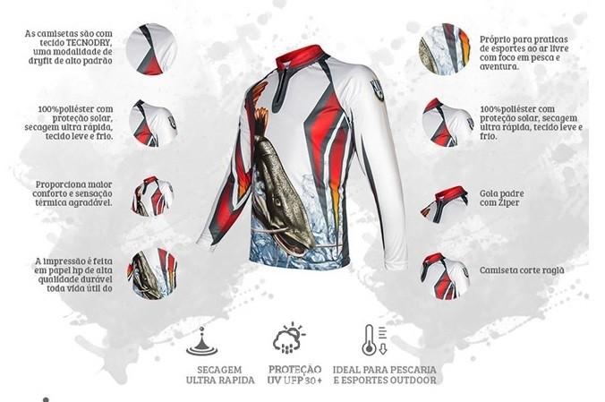 Camiseta De Pesca King Proteção Solar Uv KFF27 - Pirarara  - Life Pesca - Sua loja de Pesca, Camping e Lazer