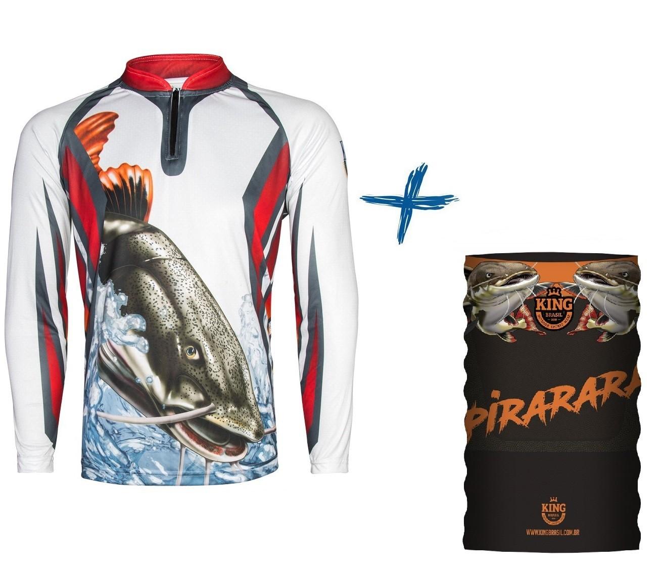 Camiseta De Pesca King Proteção Solar Uv KFF27 Pirarara + Bandana