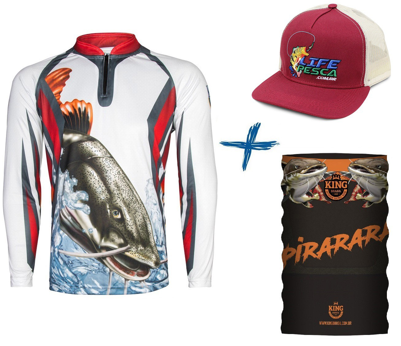 Camiseta De Pesca King Proteção Solar Uv KFF27 Pirarara + Bandana + Boné