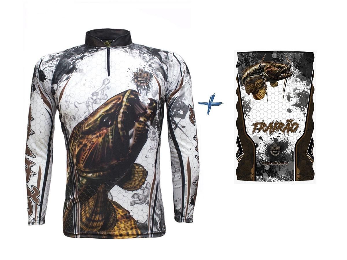 Camiseta De Pesca King Proteção Solar Uv KFF300 Traíra + Bandana